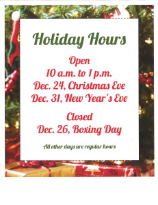 Holiday hours 2014